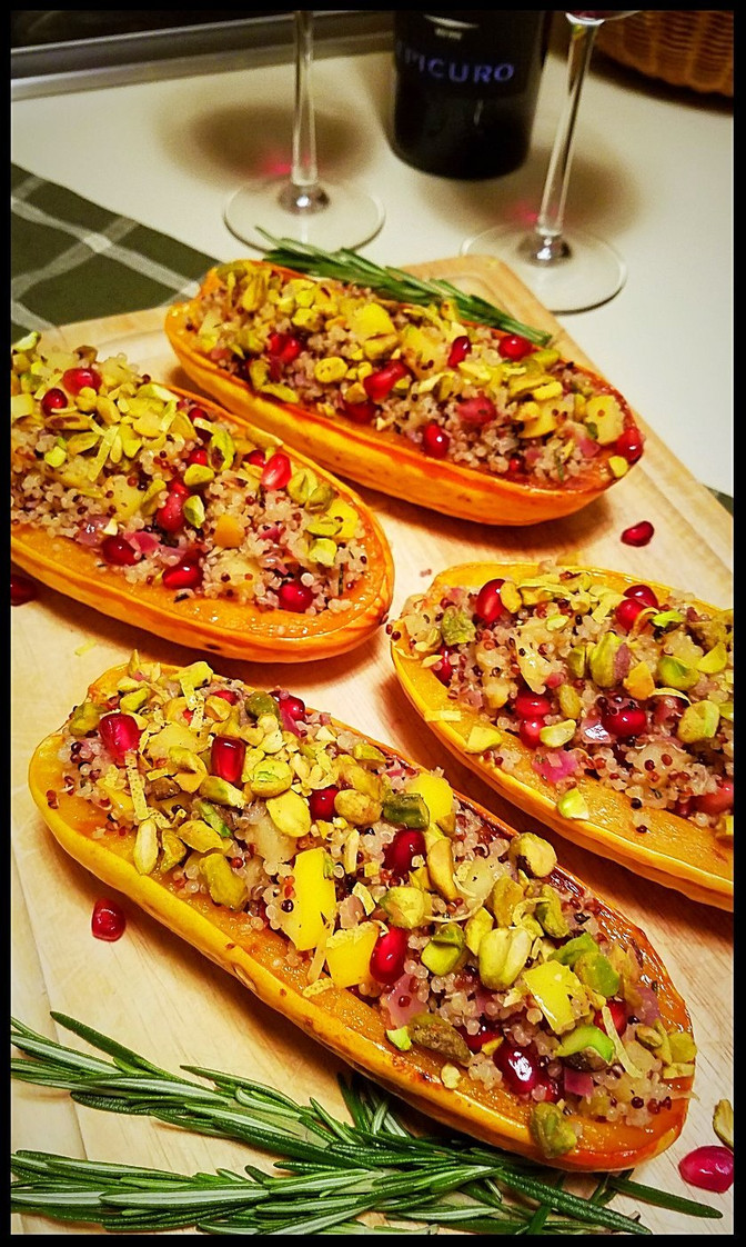 Stuffed Delicata Squash with Quinoa, Pomegranate and Pistachios