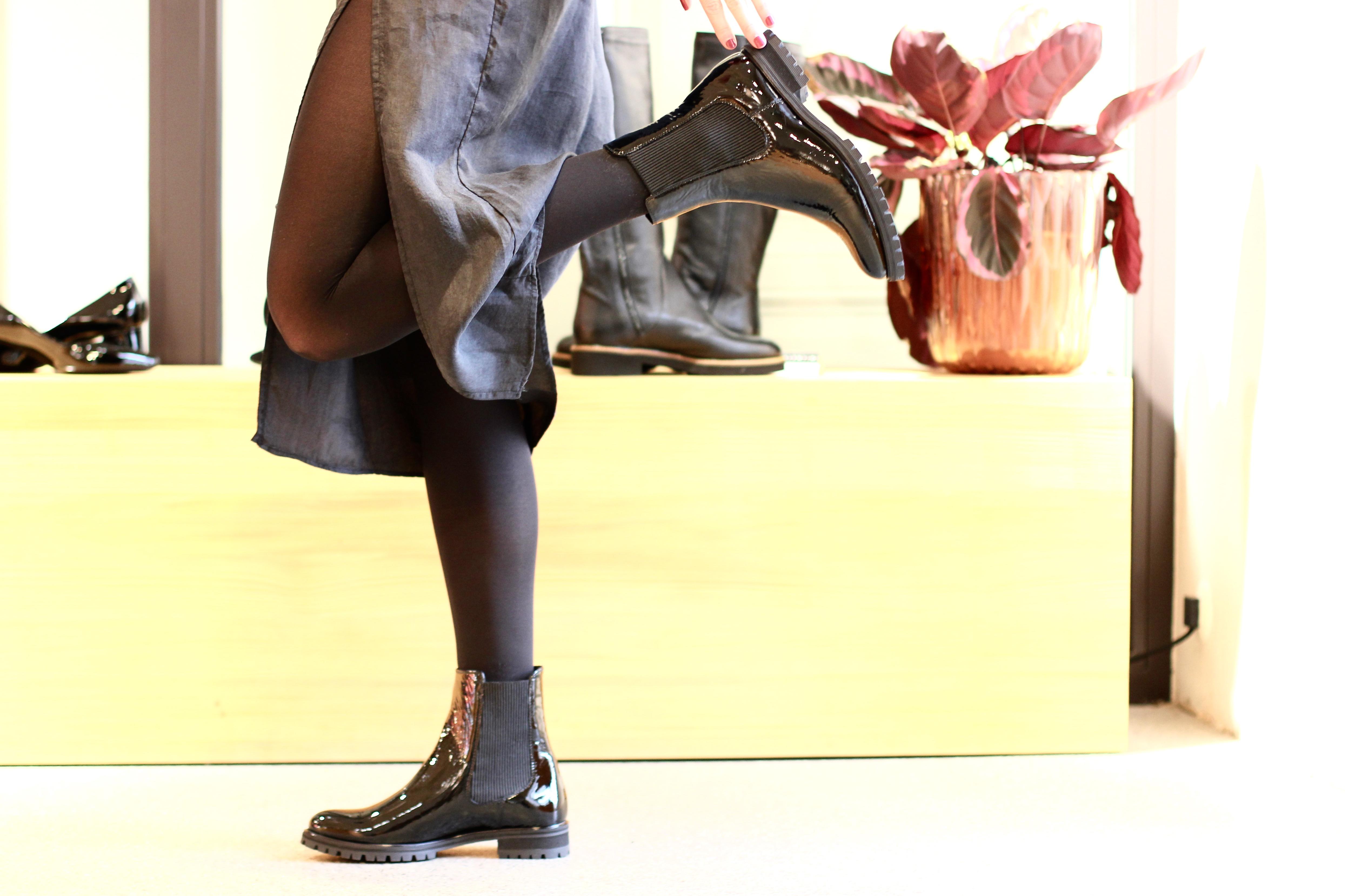 Damenschuhe Stiefeletten Lackleder