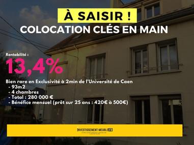 [à saisir] Colocation Clés en main +13,4% de rentabilité sur Caen ! (Rare)