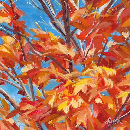 """4""""x4"""" Leaves on Fire"""