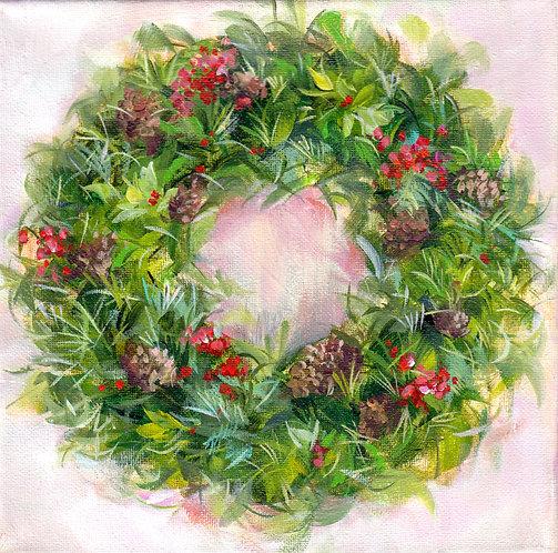 "8""x8"" Holiday Wreath No. 1"