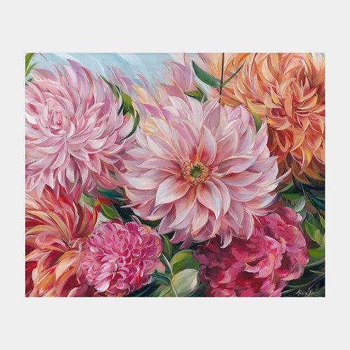 """Dahlia Bouquet (Commission), 16"""" x 20"""""""