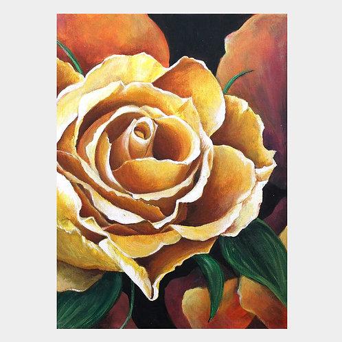 "Yellow Rose, 9"" x 12"""