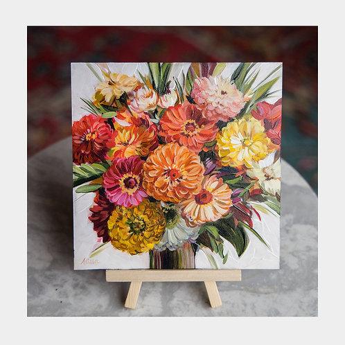 "Zinnia Bouquet, 6"" x 6"""
