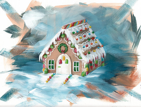 """8""""x10"""" Gingerbread House"""
