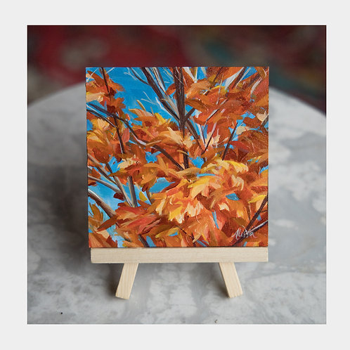 "Leaves on Fire, 4"" x 4"""
