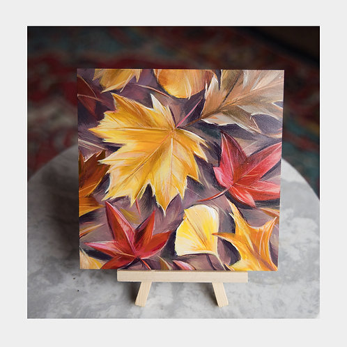 "Fall Leaves, 6"" x 6"""