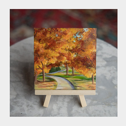 "Autumn Walk, 4"" x 4"""