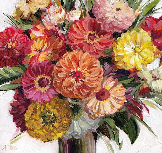 "6""x6"" Zinnia Bouquet"