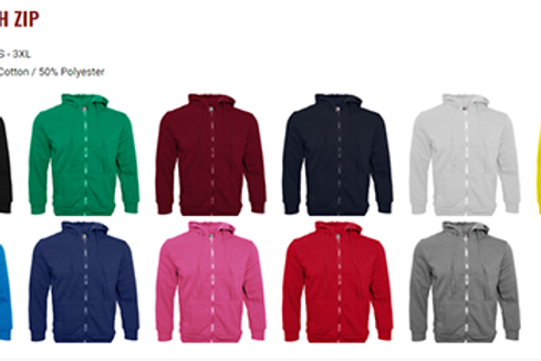 Hoodies With Zip (Colours)