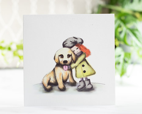 """""""Girl & Puppy"""" Greeting Card"""