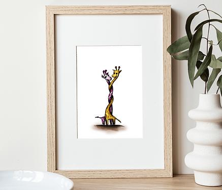 Loved up Giraffes Print | Wall Art Home Office Decor