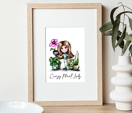 Crazy Plant Lady Print | Wall Art Home Office Decor