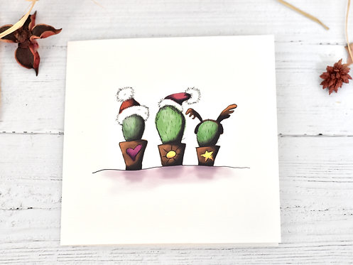 Christmas Card | 3 Cactuses (Cacti)