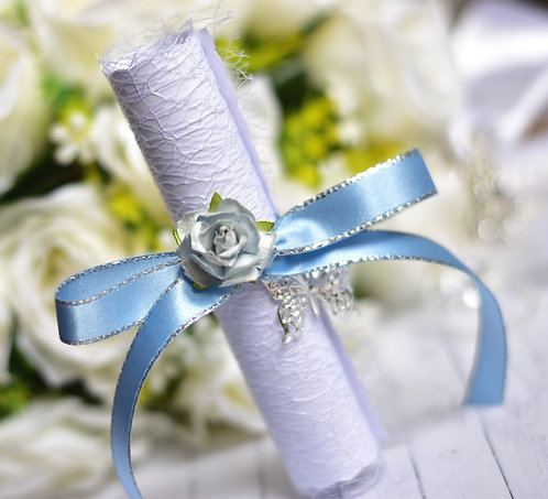 Bridesmaid Proposal Scroll | Light Blue & Silver