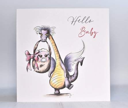 New Baby Card | Dragon Delivery | Hello Baby Boy Girl