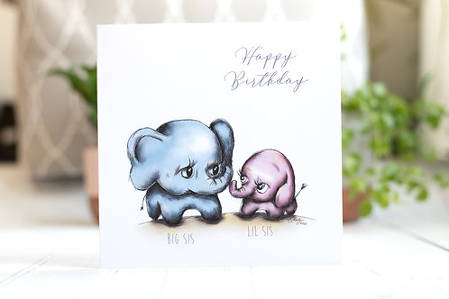 Sisters Happy Birthday Card | Elephants | Big Sis Lil Sis