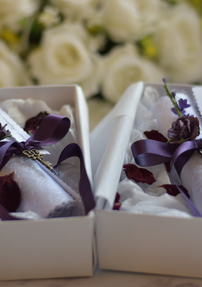 Purple Marriage Proposal and Acceptance Letters