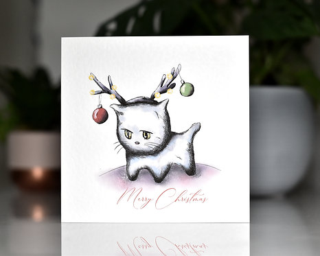 Kitten Merry Christmas Card | White Kitten
