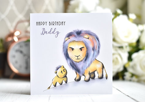 Birthday Card | Baby and Daddy Lion | From Son Daughter