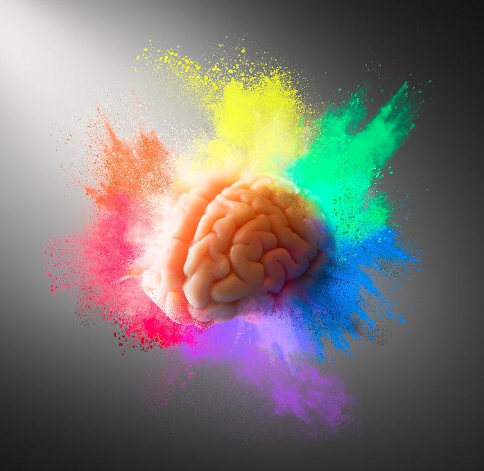 Creativity concept with a brain explodin