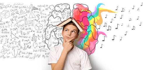 Brainwork Concept. School Boy Thinking H