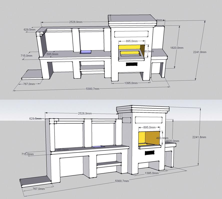Мангал со столешницей 3D проект