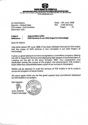 TCR Arabia - TEKFEN, Petrorabigh - ToFD Job, Appr