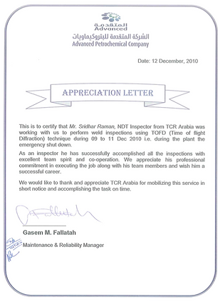 TCR Arabia - Advanced Petrochemical- ToFD Apprecia