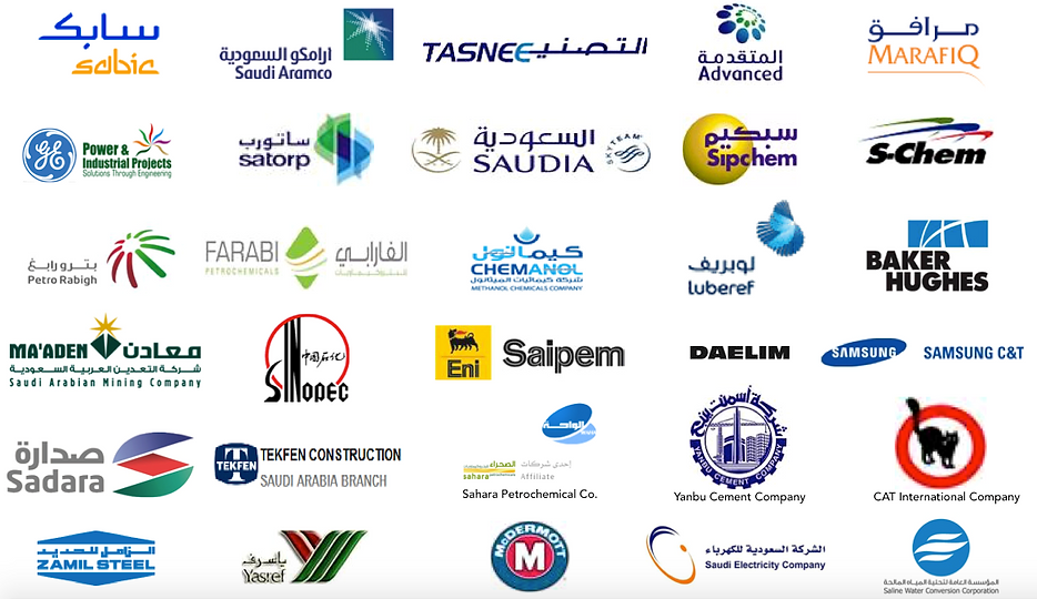 TCR Arabia works with industry leaders including SABIC, Saudi Aramco, TASNEE, Advanced, Marafiq, GE, SATORP, Saudia, Sipchem, S-Chem, Petro Rabigh, Farabi Petrochemicals, Chemanol, Ma'aden, Saudi Arabian Mining Company, Sinopec, Saipem, Daelim, Samsung C&T, Sadara, Tekfen Construction, Sahara Petrochemical,  Yanbu Cement Company, CAT International, Zamil Steel, Yasref, McDermott, Saudi Electricity Company and  Saline Water Conversion Company.
