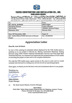 TCR Arabia - TEKFEN, Khurais - ToFD-PMI-PWHT Job,