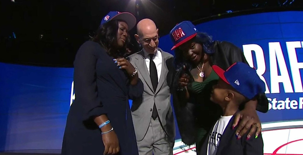 Terrence Clarke's family take the stage as he is posthumously drafted into the NBA