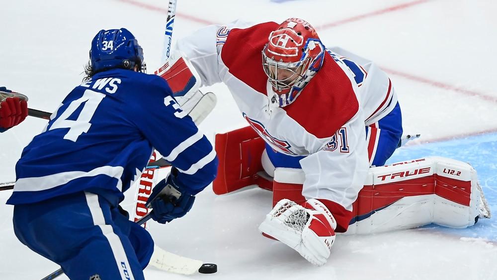 Habs goalie Carey Price stops Leafs forward Auston Matthews