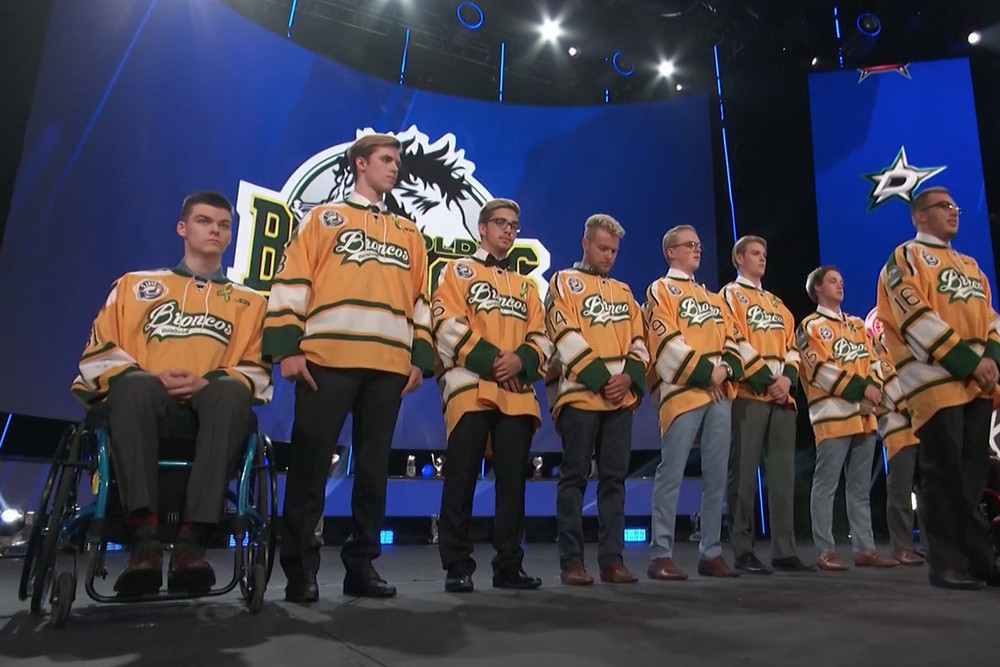 Members of the Humbolt Broncos at the 2018 NHL awards