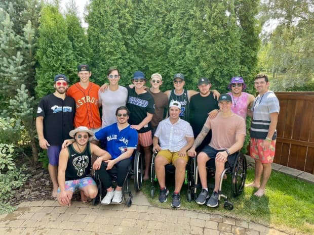The 13 survivors of the Humbolt Broncos bus crash reunite in person for the first time since 2018. Photo posted by Kaleb Dahlgren.