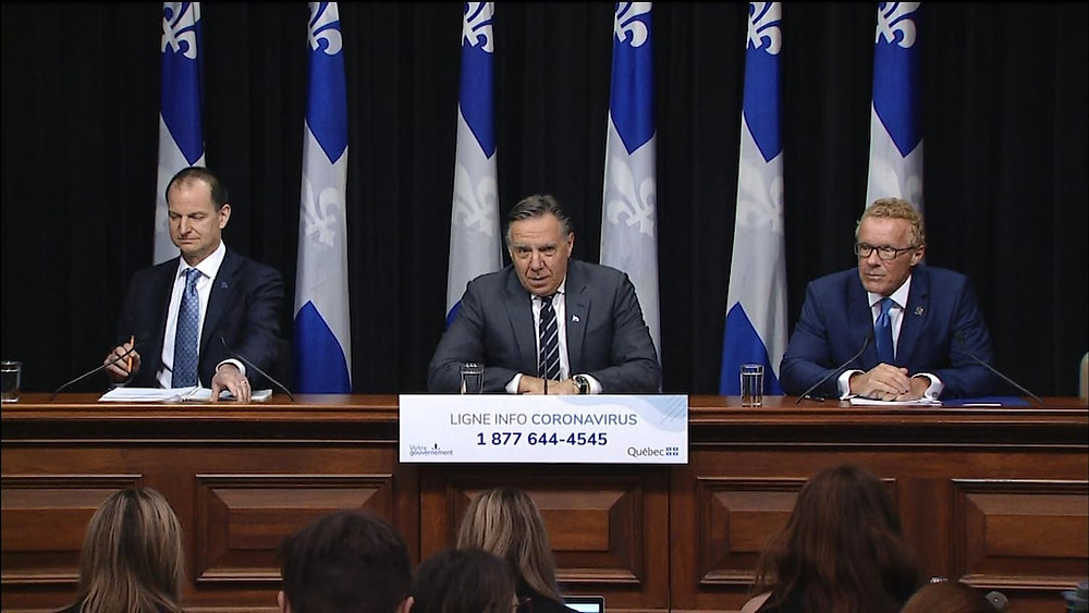 Quebec PM, Francois Legault addresses the public.