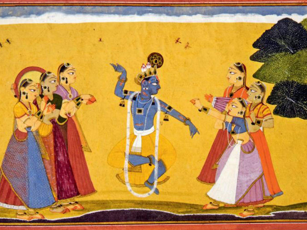 A painting of Lord Krishna and 6 Gopis surrounding him