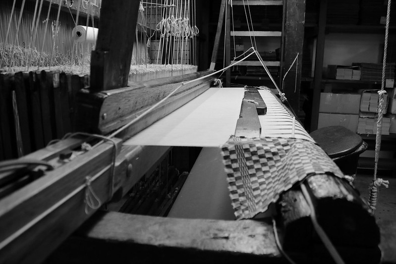 A black and white picture of handloom