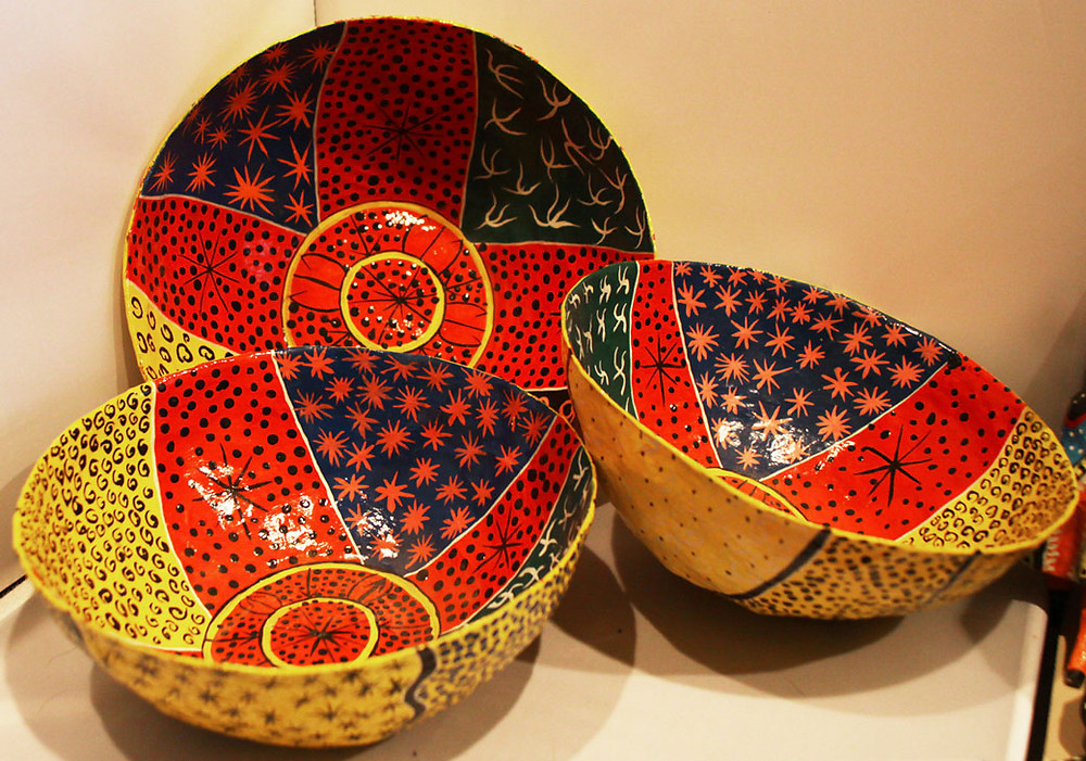 Colorful papier mache bowls