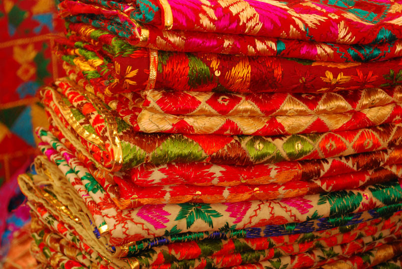 Several colorful duppatas with embroidery