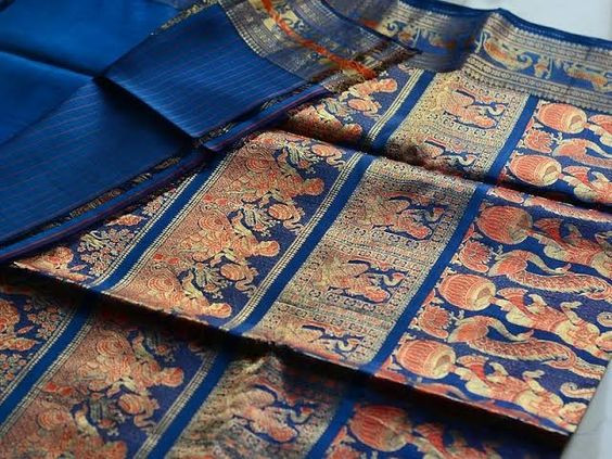 Blue saree with colorful border