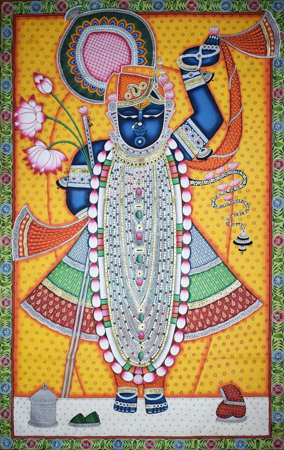 A colorful painting of Lord Krishna
