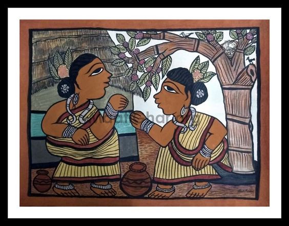A painting depicting two women having a conversation