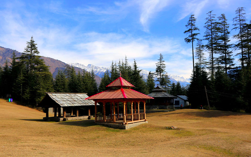 3 cottage like structures in an open green field | Sainj Valley, Himachal Pradesh