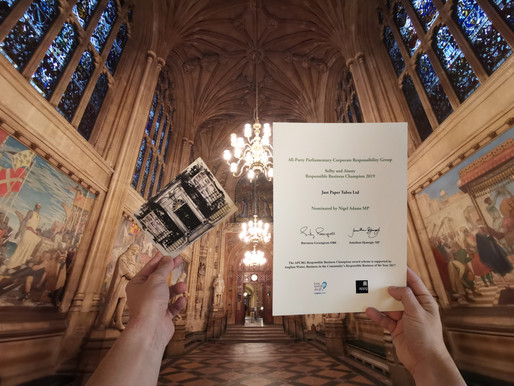 Just Paper Tubes   receives its certificate at the Houses of Parliament