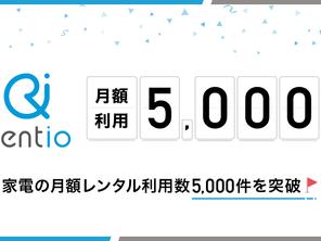 Rentioの「月額プラン」利用数が5,000件を突破しました