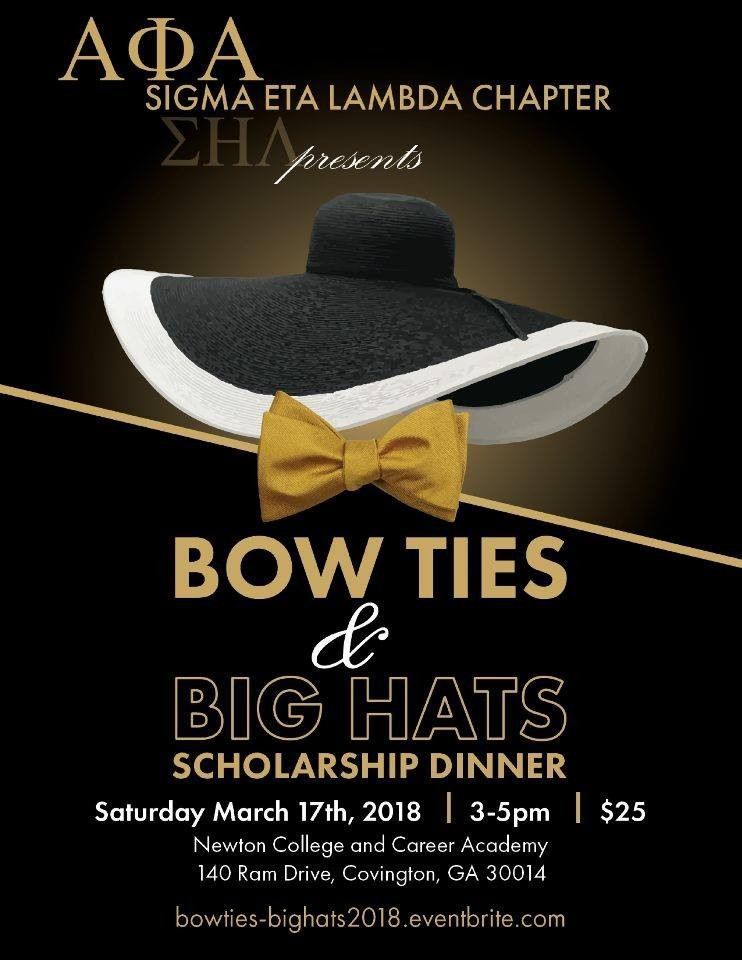 Make plans to join the Loganville-Conyers (Sigma Eta Lambda Chapter) of Alpha Phi Alpha Fraternity, Inc. for their inaugural Bow-Ties and Big Hats Scholarship Dinner!