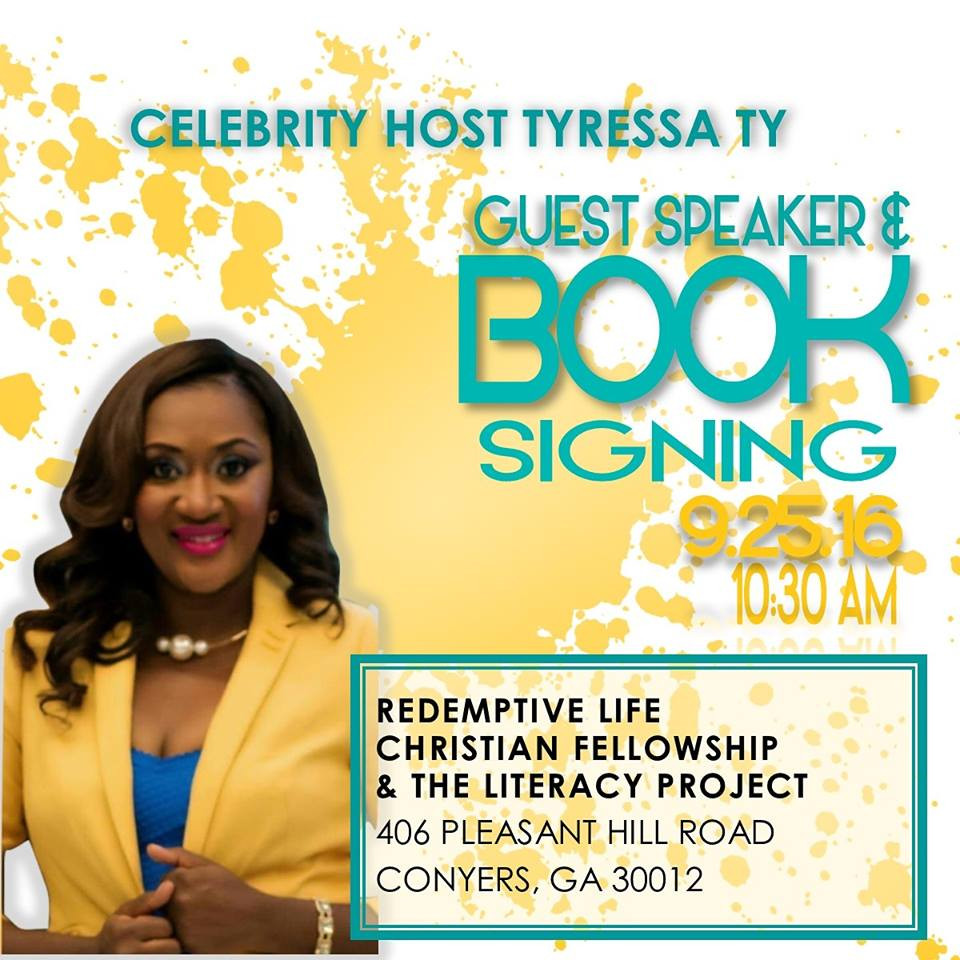 """This Sunday, September 25, 2016, our client Celebrity Host Tyressa Ty is doing a post-service sale and book-signing of her work """"Follow the Fiyah"""".  A portion of the proceeds are being donated to support #TheLiteracyProject site (Redemptive Life Christian Fellowship)."""