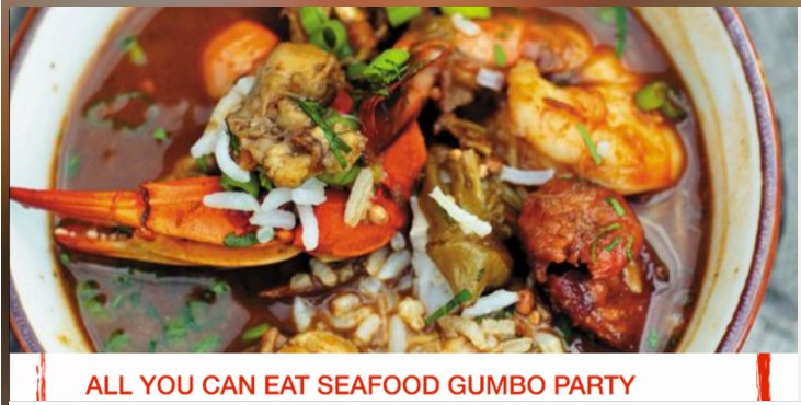 Hello!  There's a party featuring all you can eat gumbo (January 27, 2018)!