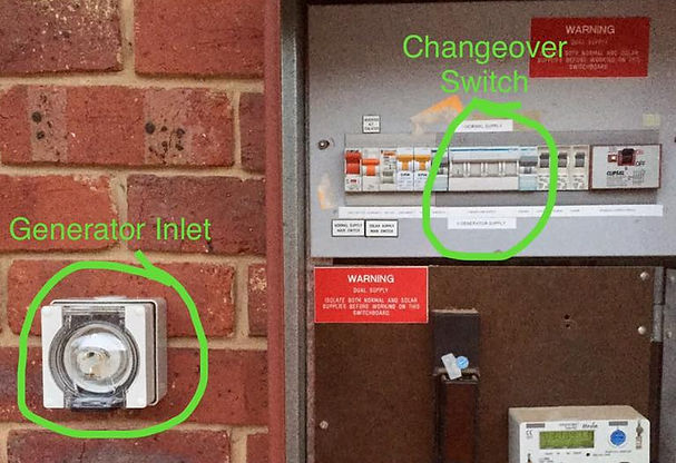 Generator inlet and changeover switch installation